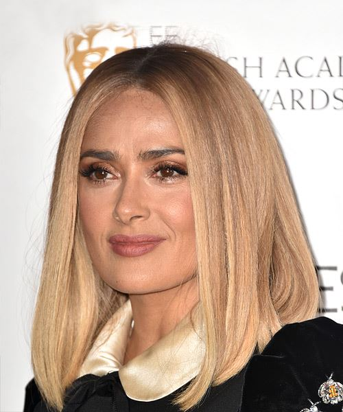 Salma Hayek Medium Straight    Blonde Bob  Haircut   - Side View