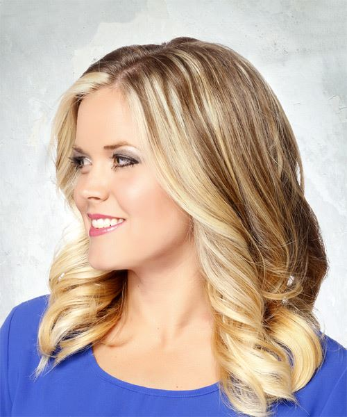 Medium Straight Casual    Hairstyle   - Light Blonde Hair Color - Side View