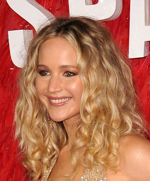 Jennifer Lawrence Long Curly Casual   Hairstyle   - Light Blonde - Side View