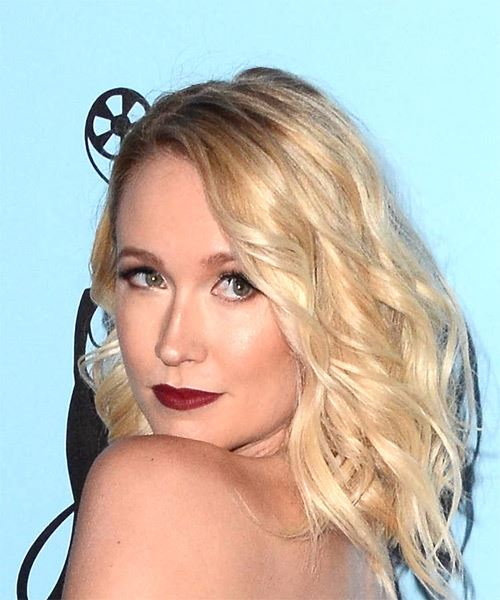 Anna Camp Medium Wavy Casual Bob  Hairstyle   - Light Blonde - Side View