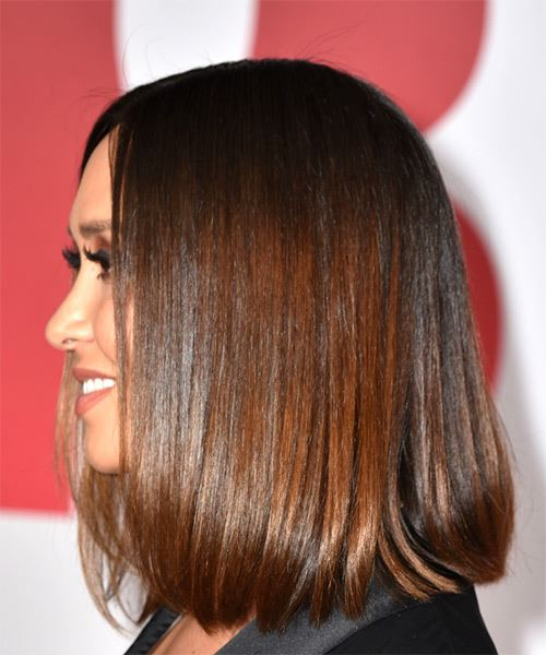Myleene Klass Medium Straight Formal Bob  Hairstyle   - Medium Brunette - Side View