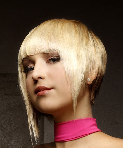 Short Straight Alternative Asymmetrical  Hairstyle with Asymmetrical Bangs  - Light Blonde - Side View