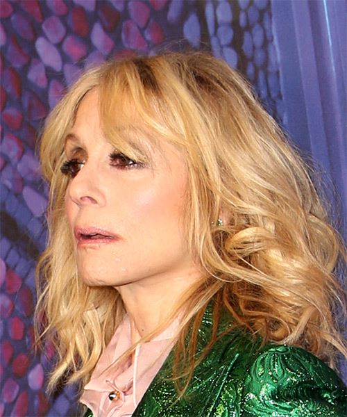Judith Light Medium Wavy Casual   Hairstyle with Layered Bangs  - Light Blonde - Side View