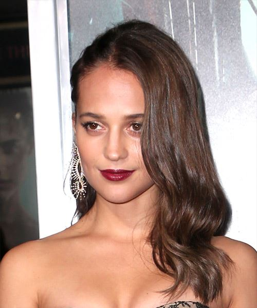 Alicia Vikander Long Wavy Casual   Hairstyle   - Medium Brunette - Side View