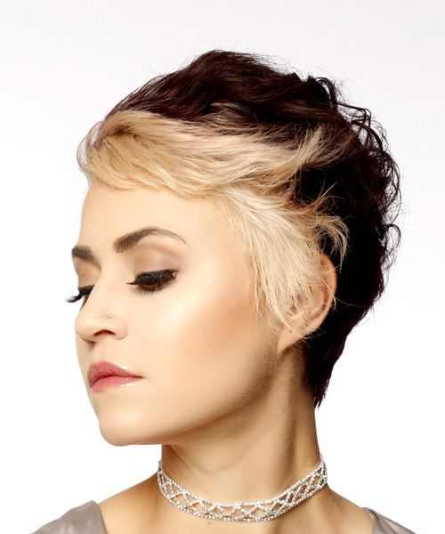 Short Wavy Casual Pixie  Hairstyle with Side Swept Bangs  - Light Blonde - Side View