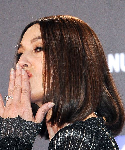 Monica Bellucci Medium Straight    Brunette Bob  Haircut   - Side View