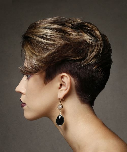 Short Straight Alternative Asymmetrical  Hairstyle   - Medium Brunette - Side View