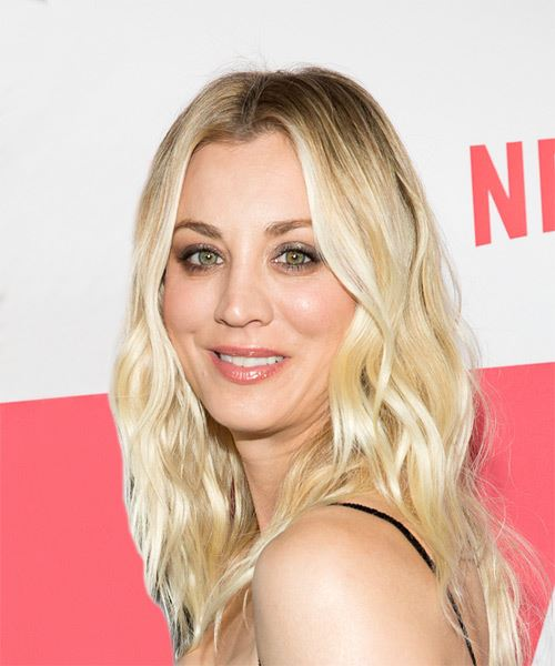 Kaley Cuoco Long Wavy   Light Blonde   Hairstyle   - Side View