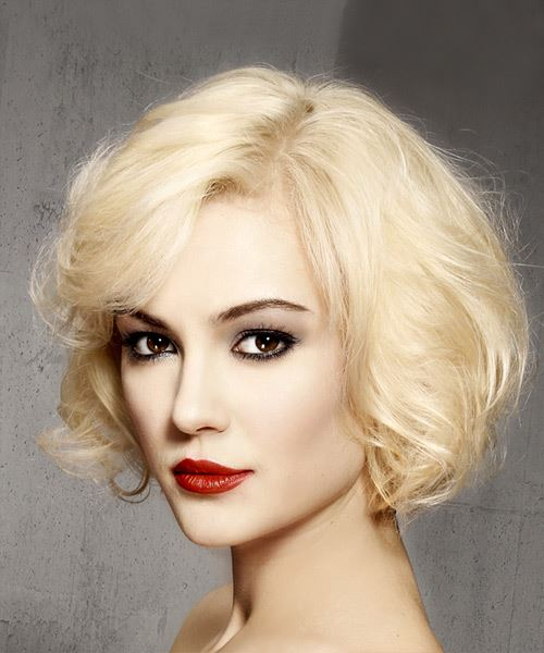 Short Wavy   Light Blonde Bob  Haircut with Side Swept Bangs  - Side View