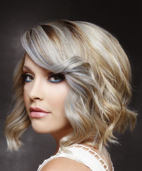 Medium Wavy Casual   Hairstyle with Side Swept Bangs  - Light Blonde - Side View