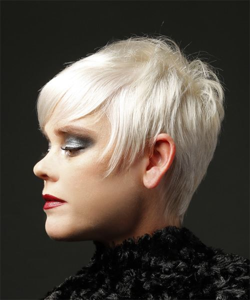 Short Straight Casual  Pixie  Hairstyle with Layered Bangs  - Light Blonde Hair Color - Side View