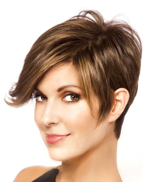 Short Straight   Light Brunette   Hairstyle with Side Swept Bangs  - Side View