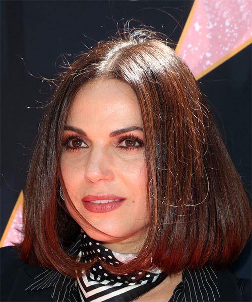Lana Parrilla Medium Straight Casual  Bob  Hairstyle   - Dark Brunette Hair Color - Side View