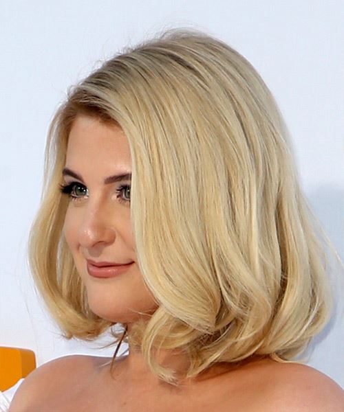 Meghan Trainor Medium Straight Casual  Bob  Hairstyle   - Light Blonde Hair Color - Side View