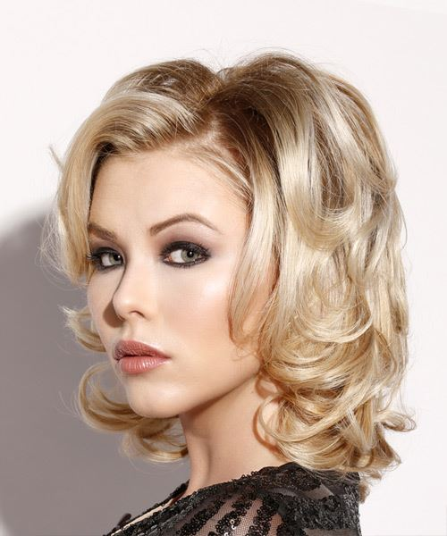 Medium Wavy Formal    Hairstyle with Side Swept Bangs  - Light Blonde Hair Color - Side View