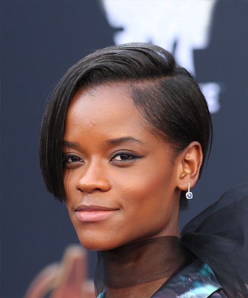 Letitia Wright Short Straight Alternative  Bob  Hairstyle   - Black  Hair Color - Side View