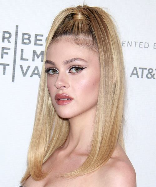 Nicola Peltz Long Straight   Light Blonde  Updo    - Side View