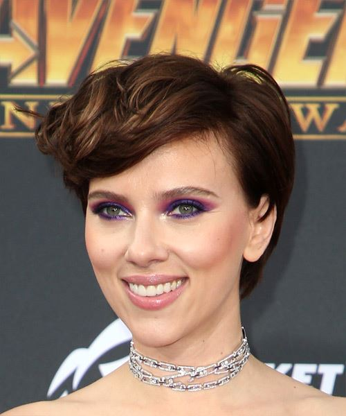Scarlett Johansson      Brunette Pixie  Cut with Side Swept Bangs  - Side View