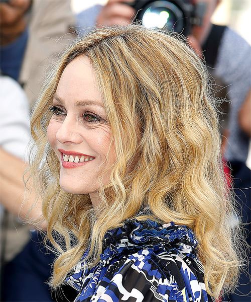 Vanessa Paradis Medium Wavy Casual    Hairstyle   - Light Blonde Hair Color - Side View