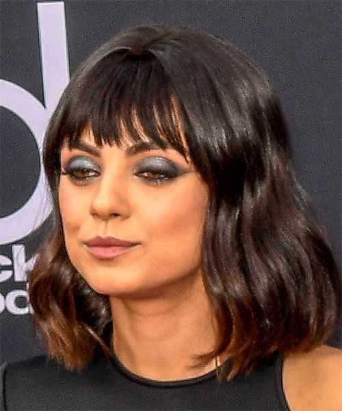 Mila Kunis Medium Wavy Casual  Bob  Hairstyle with Blunt Cut Bangs  - Black  Hair Color - Side View