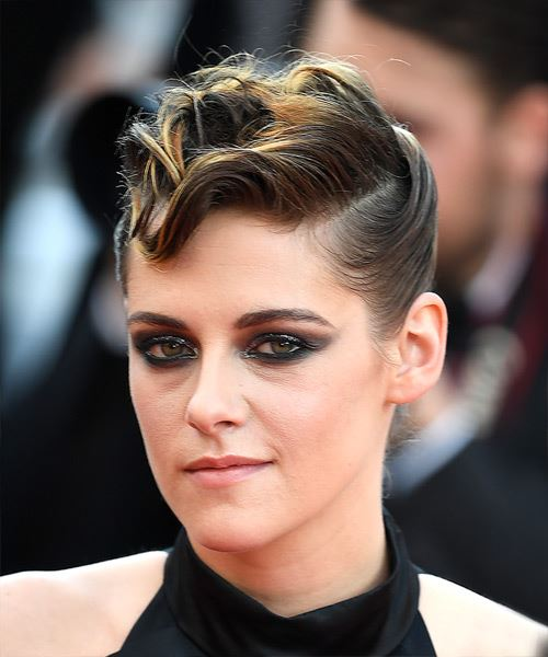 Kristen Stewart Short Wavy Casual  Mohawk  Hairstyle   -  Brunette Hair Color - Side View
