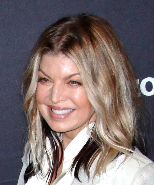 Fergie Medium Wavy Casual   Hairstyle   - Light Blonde - Side View