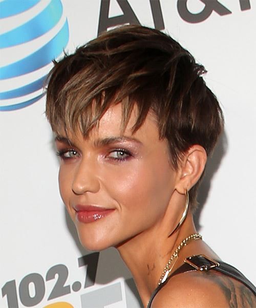 Ruby Rose     Dark Brunette Pixie  Cut with Layered Bangs  - Side View