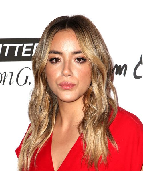 Chloe Bennet Long Wavy Casual    Hairstyle   - Dark Blonde Hair Color - Side View