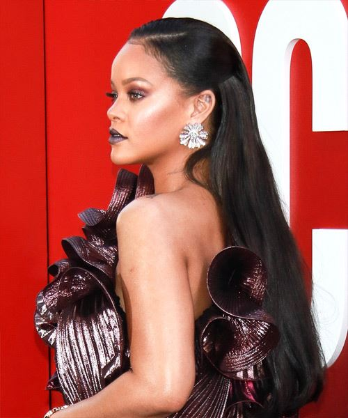Rihanna Long Straight Formal   Updo Hairstyle   - Black  Hair Color - Side View