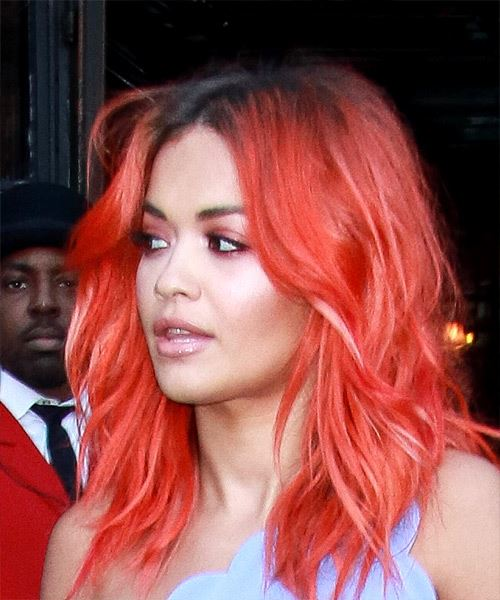 Rita Ora Medium Wavy Casual    Hairstyle   -  Bright Red Hair Color - Side View