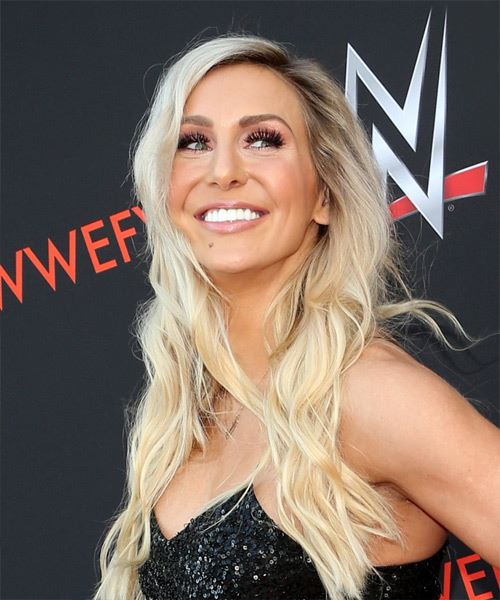 Charlotte Flair Long Wavy Casual    Hairstyle with Side Swept Bangs  - Light Blonde Hair Color - Side View