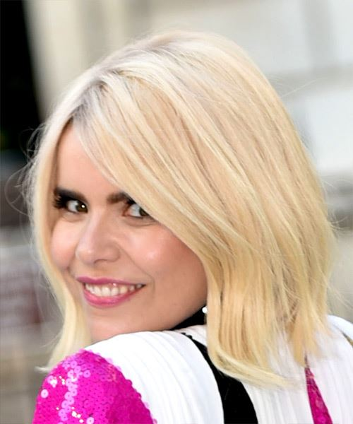 Paloma Faith Medium Straight   Light Blonde Bob  Haircut   - Side View