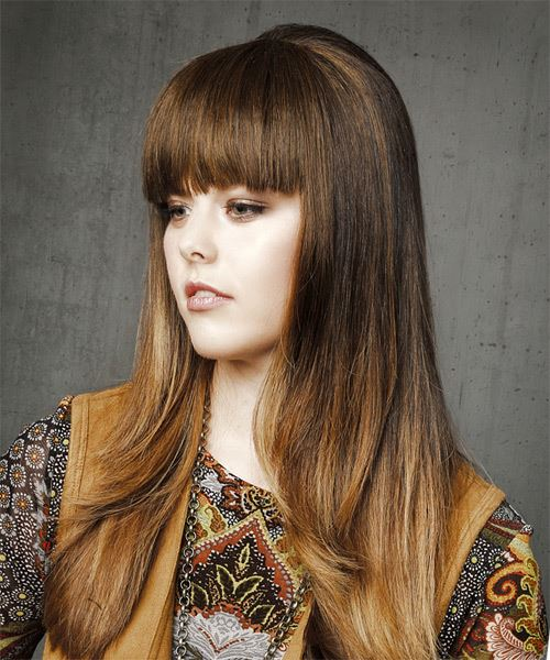 Long Straight Casual    Hairstyle with Blunt Cut Bangs  -  Brunette Hair Color - Side View