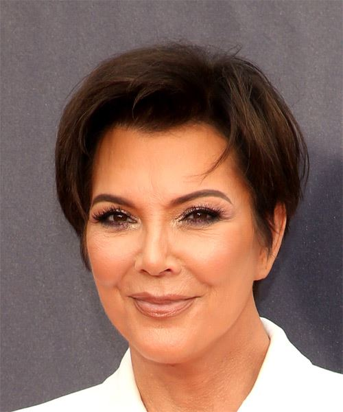 Kris Jenner Short Straight Casual  Pixie  Hairstyle   - Medium Brunette Hair Color - Side View