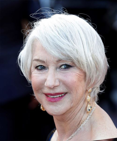 Helen Mirren Short Straight   Light Grey Bob  Haircut with Side Swept Bangs  - Side View