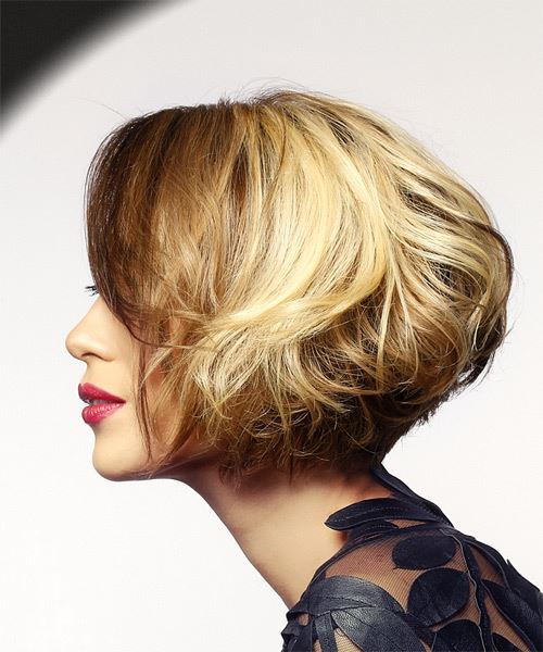 Short Wavy Casual  Bob  Hairstyle   -  Brunette and Light Blonde Two-Tone Hair Color - Side View