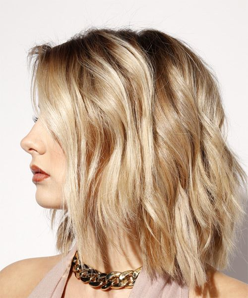 Medium Straight Casual  Bob  Hairstyle   - Light Blonde Hair Color - Side View