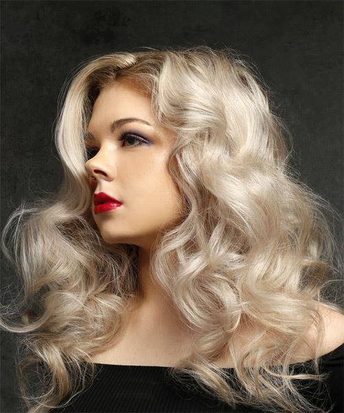 Long Wavy Casual    Hairstyle   - Light Blonde Hair Color - Side View