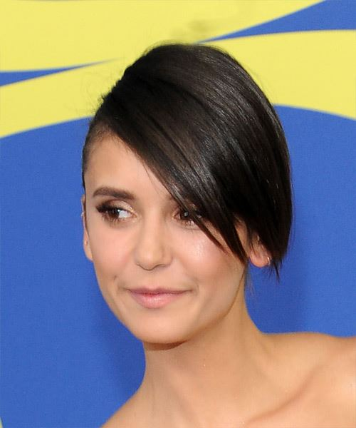Nina Dobrev Long Straight Formal   Updo Hairstyle with Side Swept Bangs  - Dark Brunette Hair Color - Side View