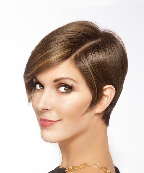 Short Straight   Light Brunette   Hairstyle   - Side View