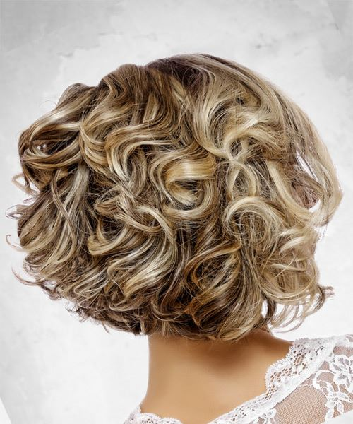 Medium Wavy Formal  Bob  Hairstyle with Side Swept Bangs  - Light Blonde Hair Color - Side View
