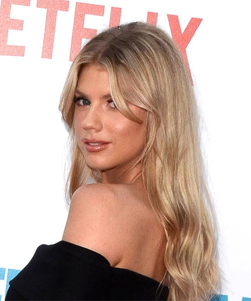Charlotte McKinney Long Wavy Casual    Hairstyle   - Light Blonde Hair Color - Side View