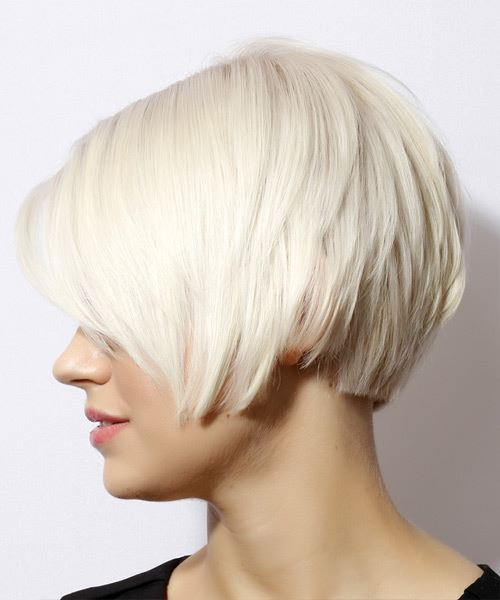 Short Straight   Light Blonde Bob  Haircut with Side Swept Bangs  - Side View