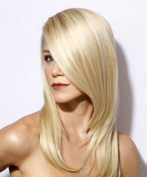 Long Straight Formal    Hairstyle with Side Swept Bangs  - Light Blonde Hair Color - Side View