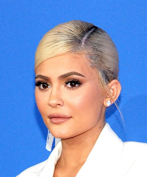 Kylie Jenner Long Straight Casual   Updo Hairstyle with Side Swept Bangs  - Light Blonde Hair Color - Side View