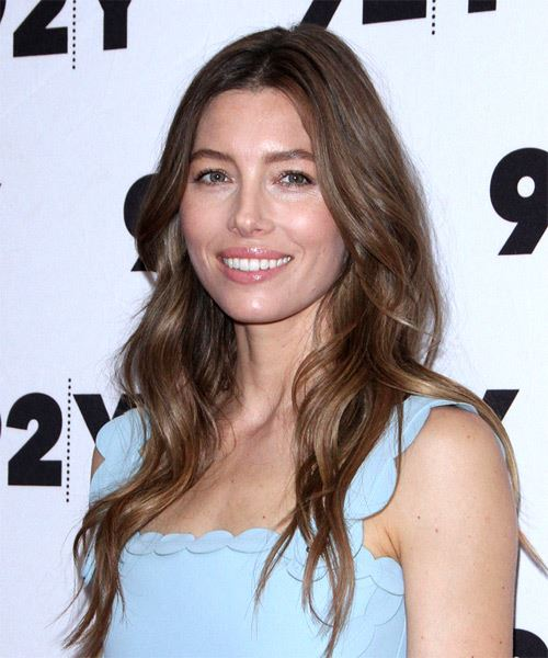 Jessica Biel Long Wavy Casual    Hairstyle with Layered Bangs  - Dark Brunette Hair Color - Side View