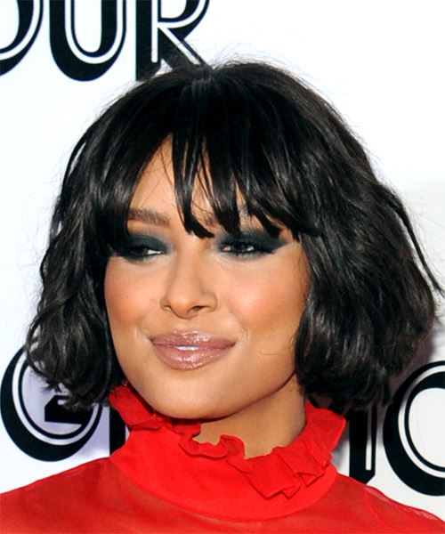 Kat Graham Short Wavy Casual  Bob  Hairstyle with Blunt Cut Bangs  - Black  Hair Color - Side View