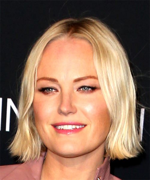 Malin Akerman Short Straight Casual  Bob  Hairstyle with Blunt Cut Bangs  -  Blonde Hair Color - Side View
