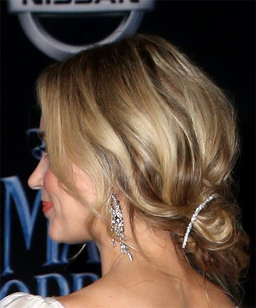 Emily Blunt Medium Straight    Platinum Blonde  Updo  with Layered Bangs  - Side View