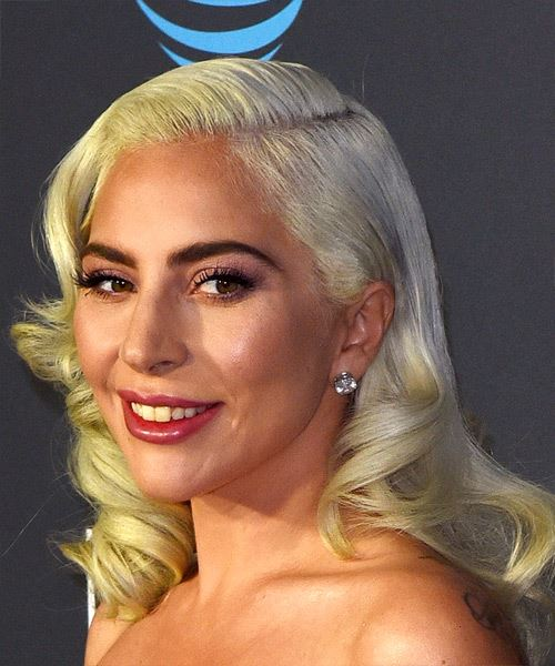 Lady Gaga Medium Wavy Casual    Hairstyle with Side Swept Bangs  - Light Blonde and Yellow Two-Tone Hair Color - Side View